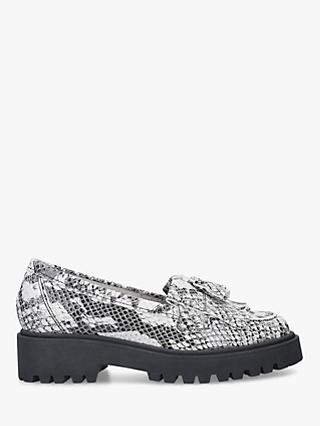 Kurt Geiger London Klarke Flatform Tassel Leather Loafers, Grey Print