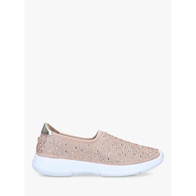 Carvela Comfort Carla Metallic Embellished Slip On Trainers, Pink