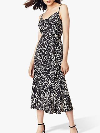 Oasis Zebra Cowl Midi Dress, Black/White