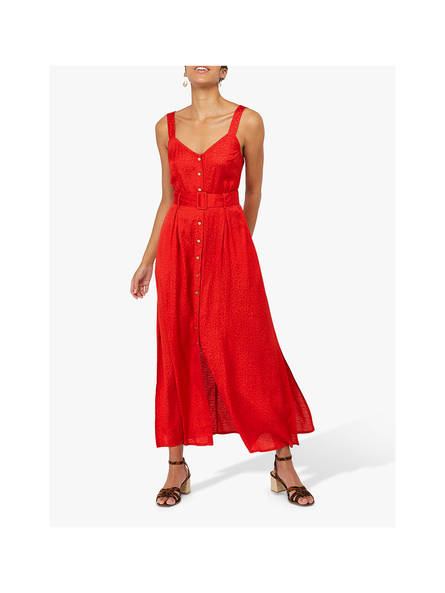 6bc4765e300aa Monsoon Jackie Animal Jacquard Belted Maxi Dress, Red