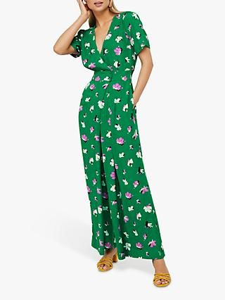 Monsoon Aoife Floral Print Jumpsuit, Green