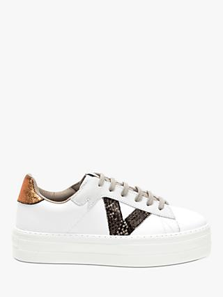 Victoria Shoes Barcelona Leather Flatform Trainers, White