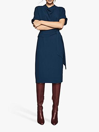 Reiss Lola Short Sleeve Tie Belt Dress
