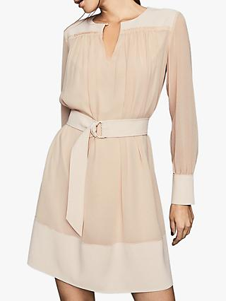 Reiss Finn Soft Belted Dress, Nude