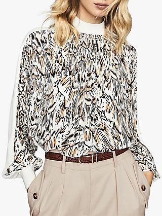 Reiss Magda Abstract Feather Print Blouse, White