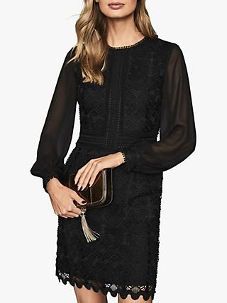 Reiss Aria Sheer Sleeve Lace Dress, Black