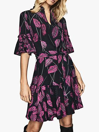 Reiss Marsali Feather Print Dress, Dark Pink