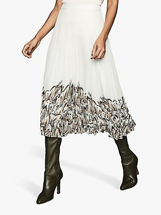 Reiss Isidora Printed Hem Skirt, White