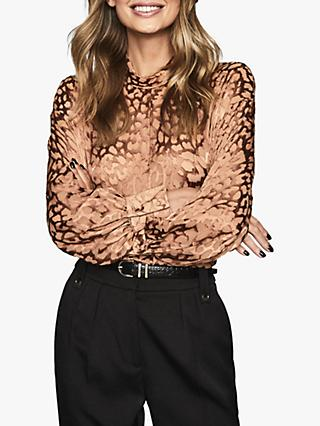 Reiss Ella Animal Print Burnout Blouse, Blush