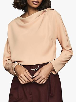 Reiss Elif Drape Detailed Top, Nude