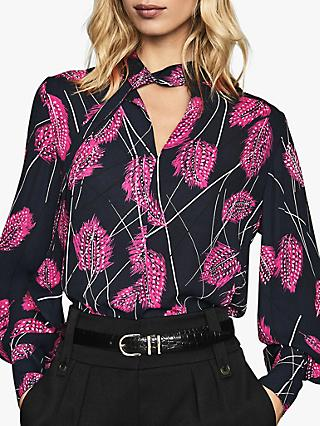 Reiss Lily Feather Print Tie Neck Blouse, Pink