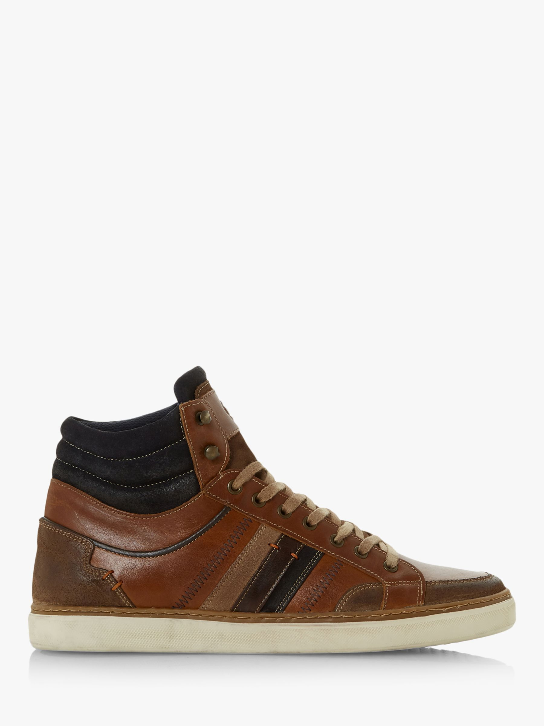 Dune Dune Vernonn High Top Leather Trainers, Tan