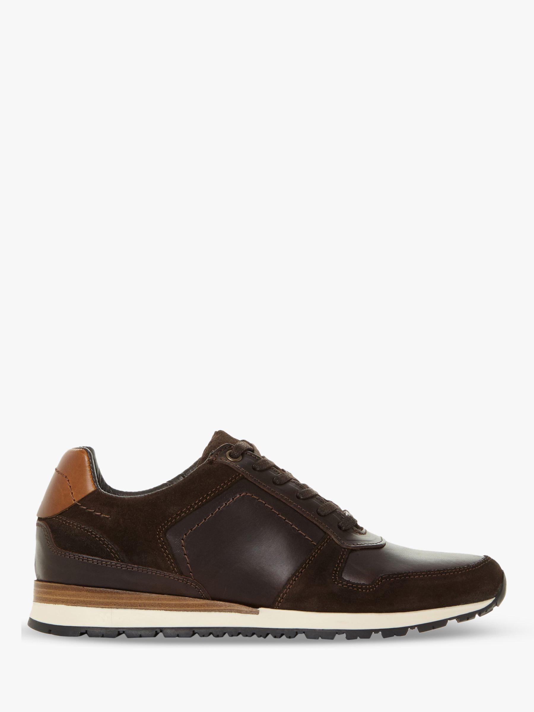 Dune Dune Tenor Leather Trainers, Brown