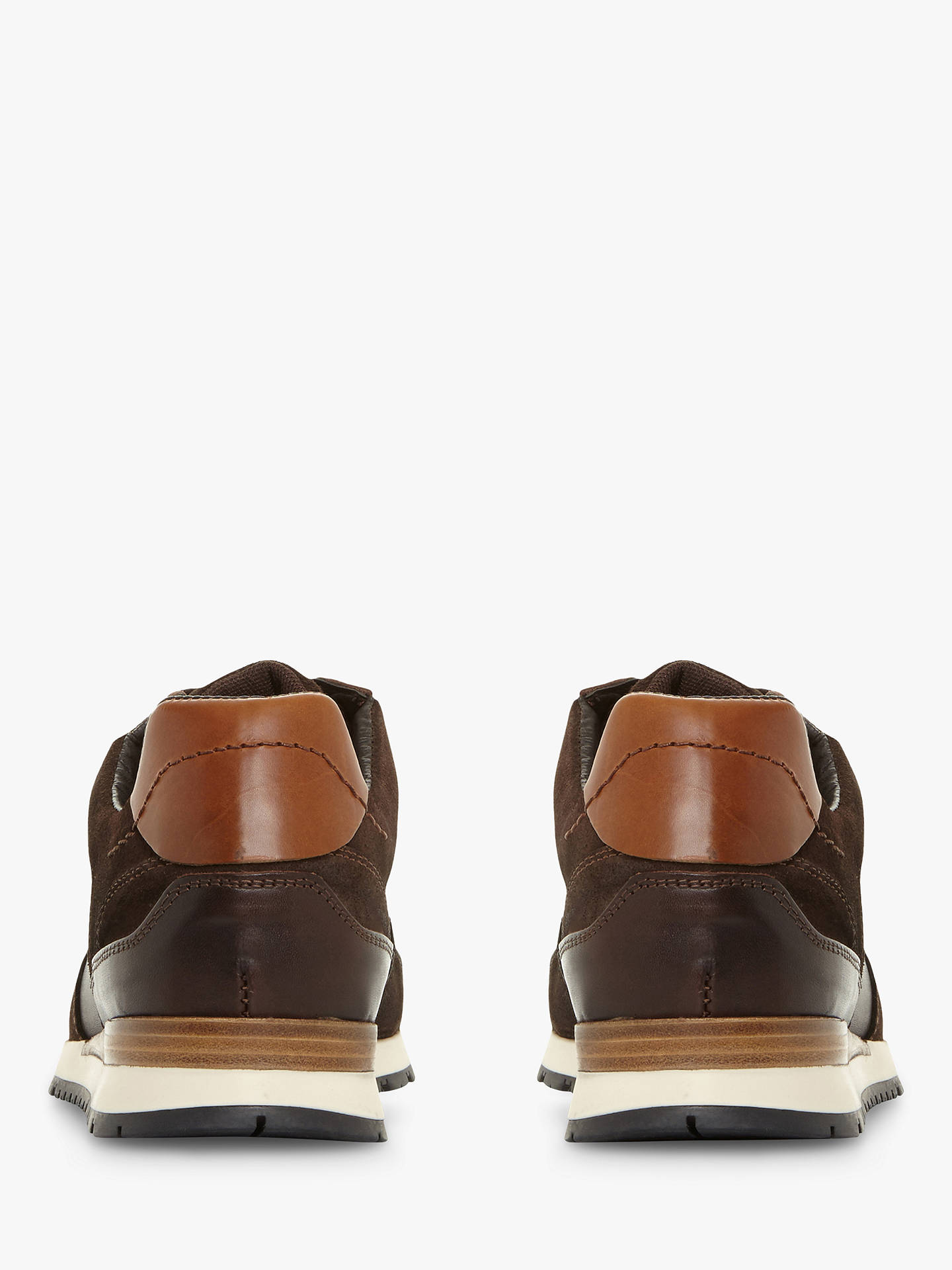 Buy Dune Tenor Leather Trainers, Brown, 6 Online at johnlewis.com