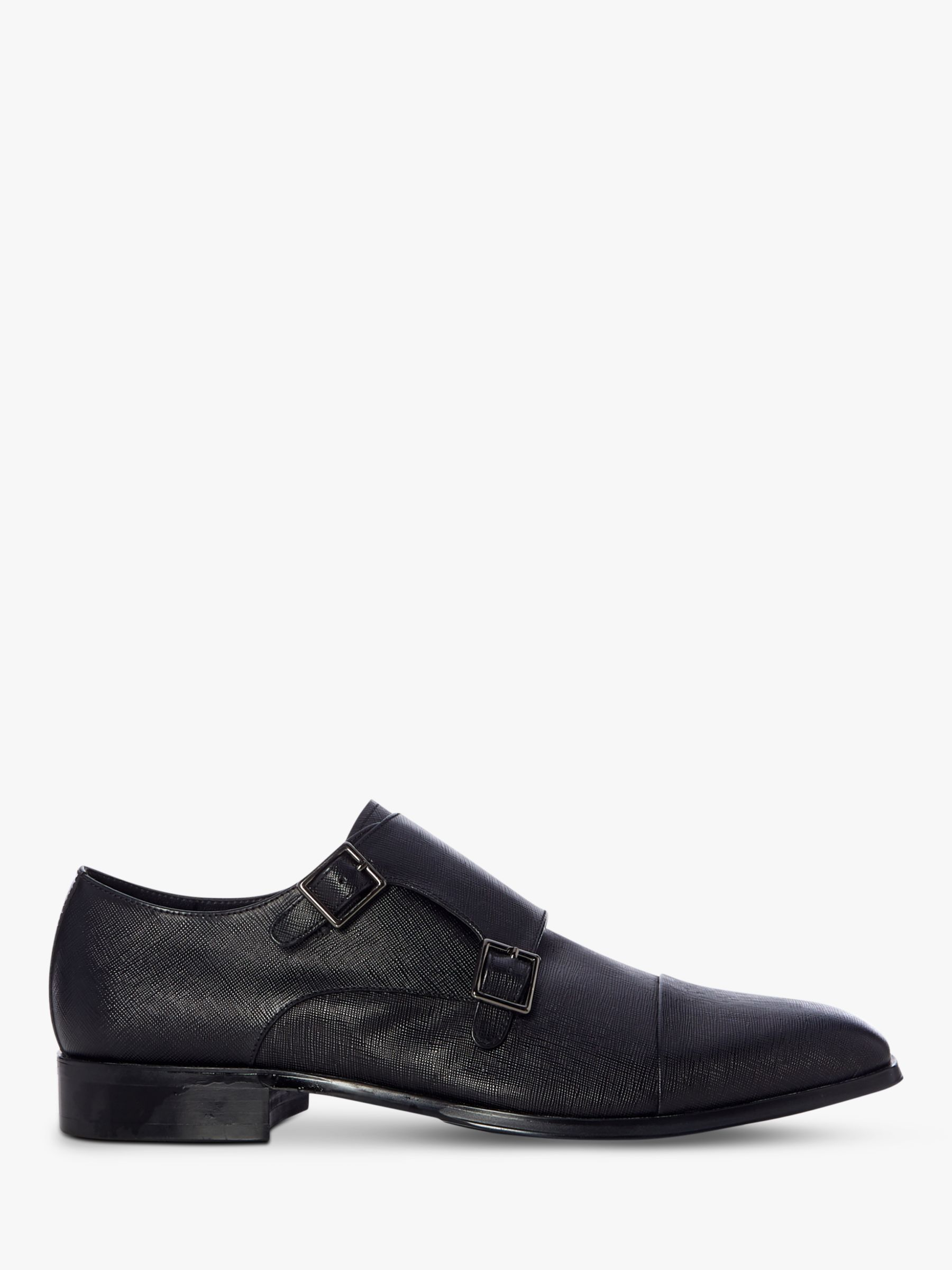 Dune Dune Scroll Leather Monk Shoes, Black