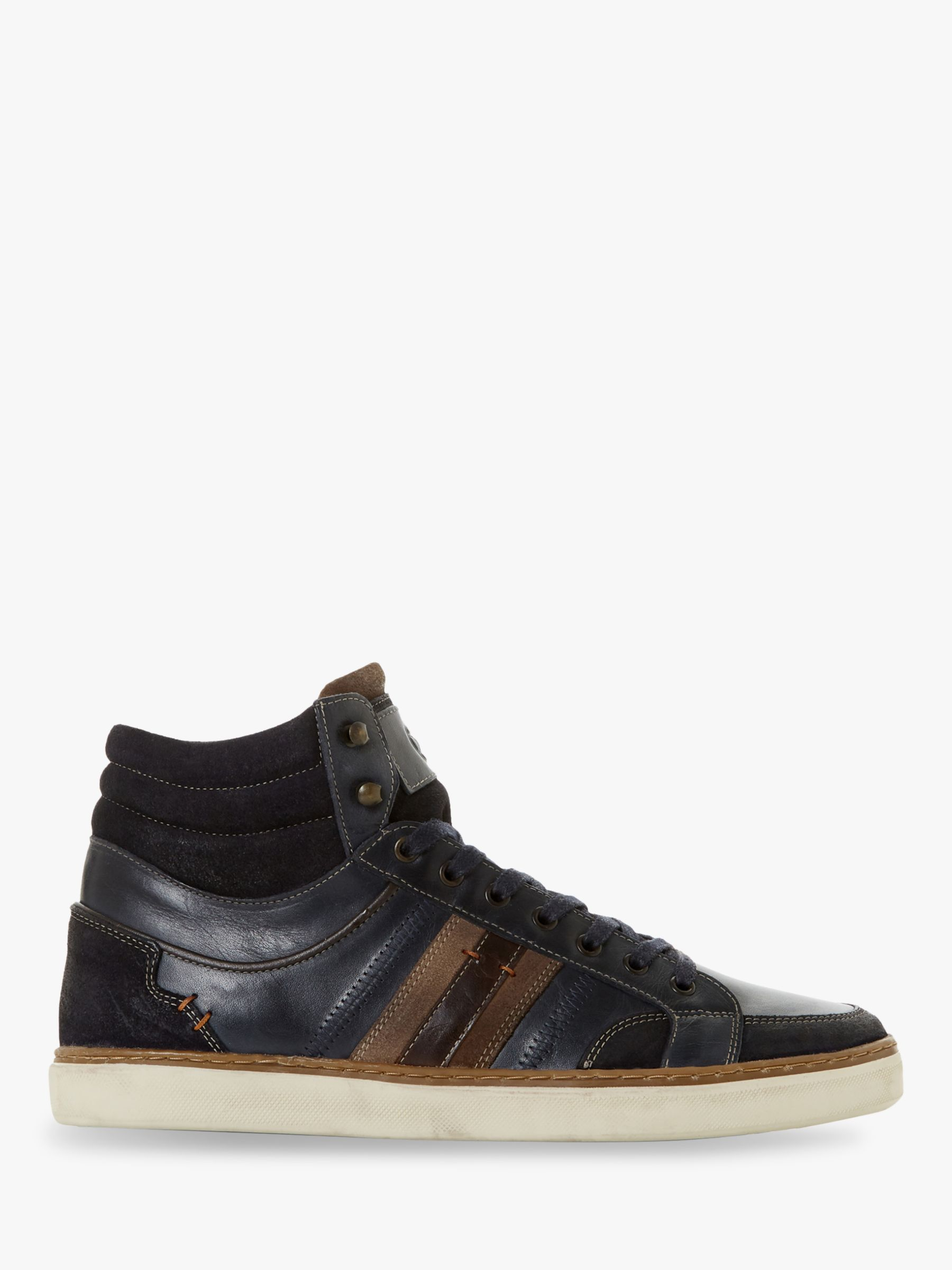 Dune Dune Vernonn High Top Leather Trainers, Navy
