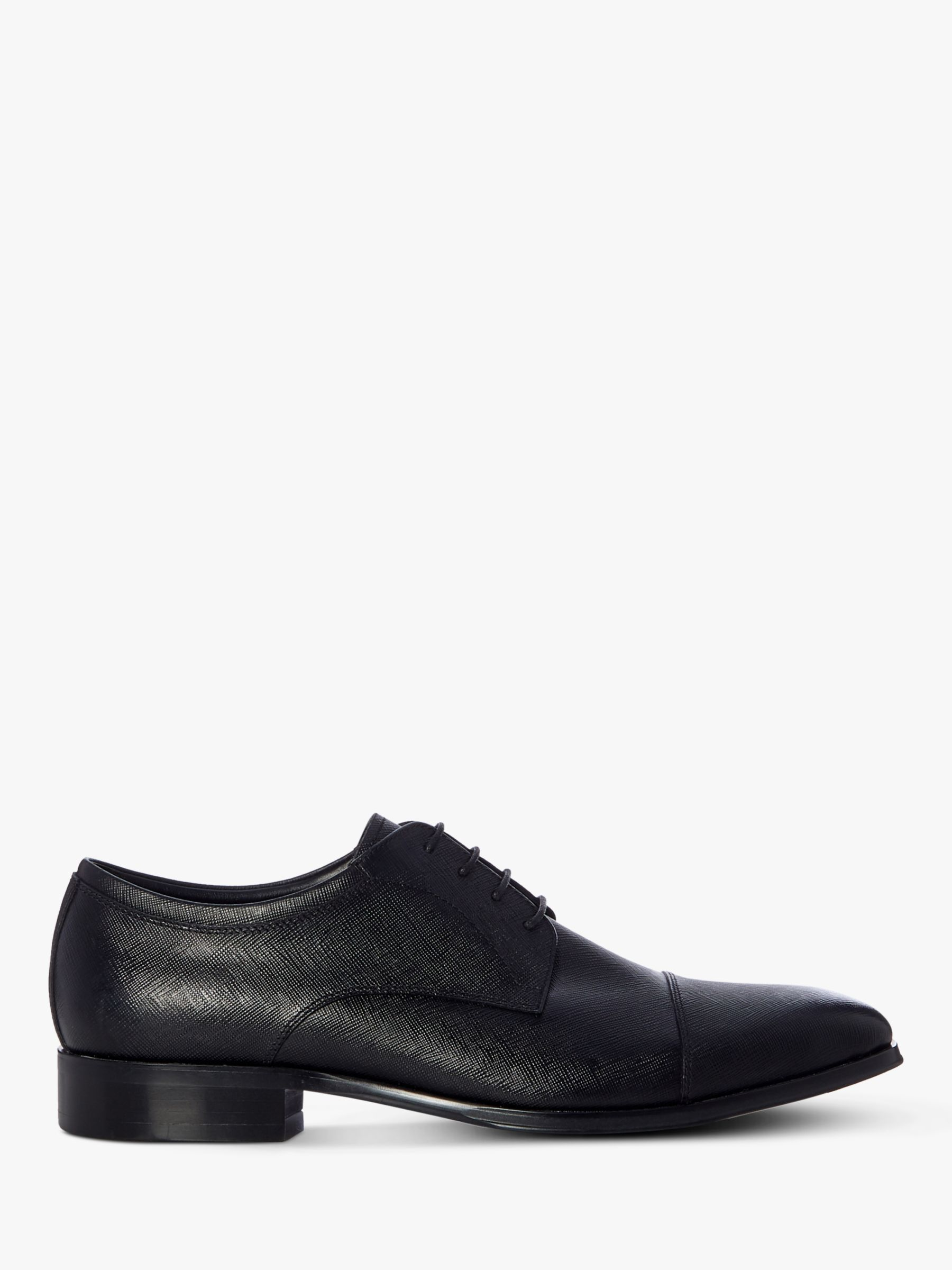 Dune Dune Scribe Leather Toecap Derby Shoes, Black