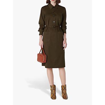 L.K.Bennett Collins Belted Shirt Dress, Olive Green