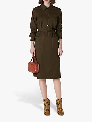L.K.Bennett Collins Belted Shirt Dress, Olive Green