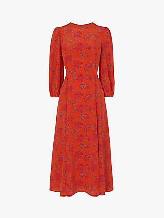 L.K.Bennett Kaia Floral Silk Dress, Pri Orange