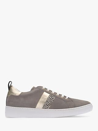 Mint Velvet Allie Striped Lace Up Trainers, Light Grey