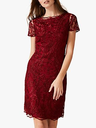 Phase Eight Lizzy Embroidered Dress, Sangria