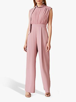 Phase Eight Sharon Tie Neck Jumpsuit, Rose Taupe
