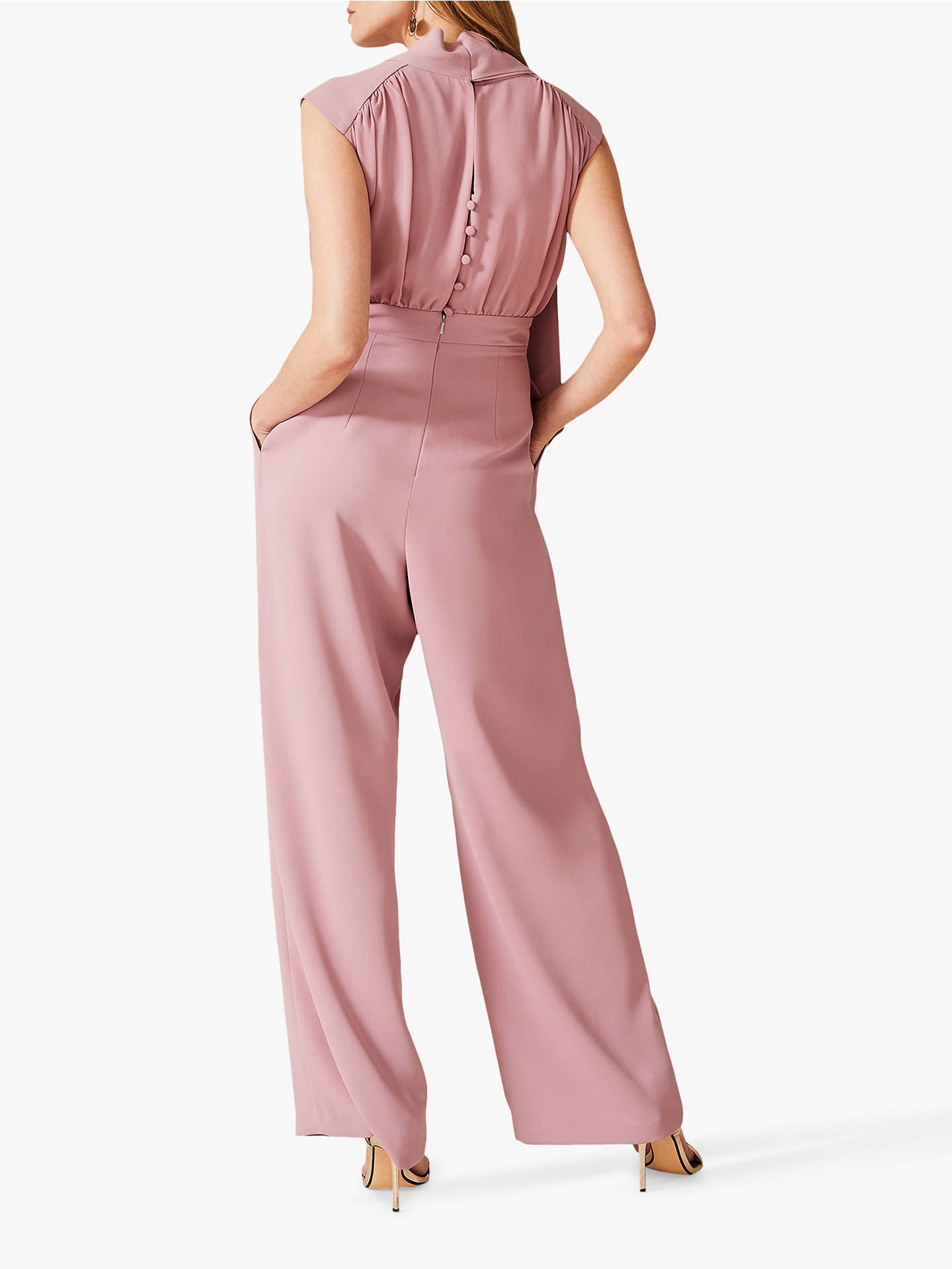 Buy Phase Eight Sharon Tie Neck Jumpsuit, Rose Taupe, 16 Online at johnlewis.com