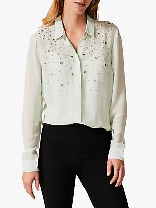 Phase Eight Eyelet Chiffon Blouse, Mint