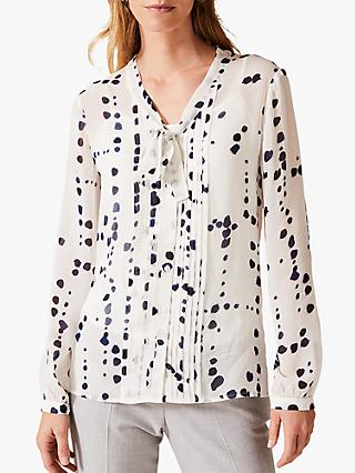 Phase Eight Bailey Spot Blouse, Ivory/Multi