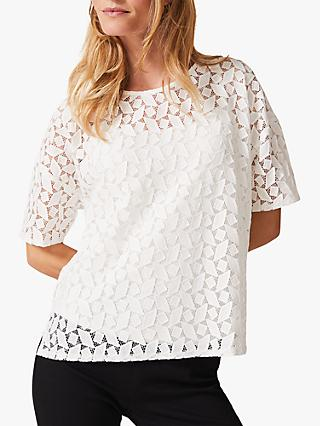 Phase Eight Rio Geo Textured Lace Top, White