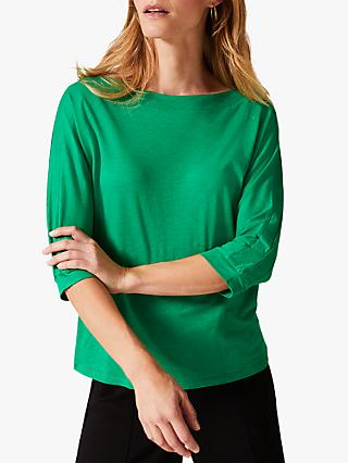 Phase Eight Belle Cotton Blend Boat Neck Top, Portugal