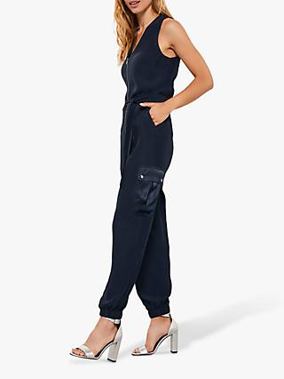 Mint Velvet Patch Pocket Jumpsuit, Dark Blue