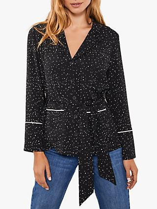Mint Velvet Spot Print Belted Blouse, Black/Multi