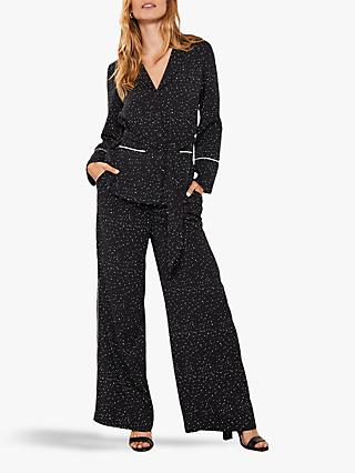 Mint Velvet Wide Leg Trousers, Black/Multi