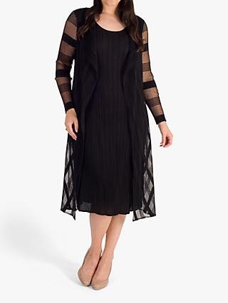 chesca Sheer & Stripe Crush Pleated Dress, Black