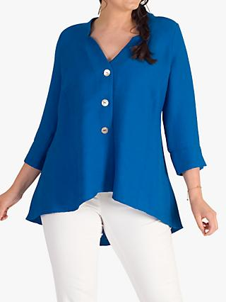 chesca Peacock Fine Crinkle Top, Blue