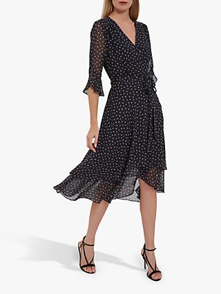 Gina Bacconi Franny V-Neck Ruffled Spot Dress, Navy
