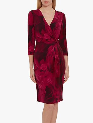 Gina Bacconi Lainey Floral Wrap Dress, Magenta