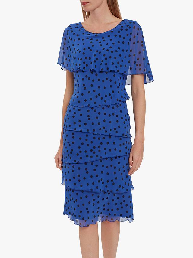 Layered chiffon blue with darker spot dress for a wedding