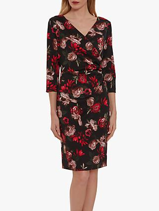 Gina Bacconi Grecia Floral Wrap Dress, Black/Red