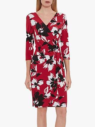 Gina Bacconi Blithe Floral V-Neck Wrap Dress, Claret