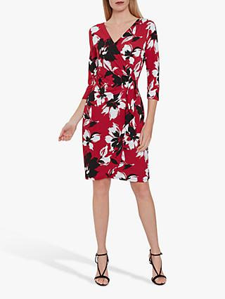 Gina Bacconi Blithe Floral V-Neck Wrap Dress, Claret
