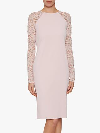 Gina Bacconi Tristine Lace Sleeve Dress, Pink