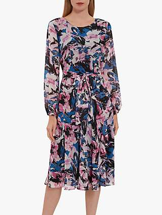 Gina Bacconi Ivah Floral Chiffon Dress, Pink/Black