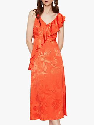 Warehouse Palm Jacquard Midi Cami Dress, Orange
