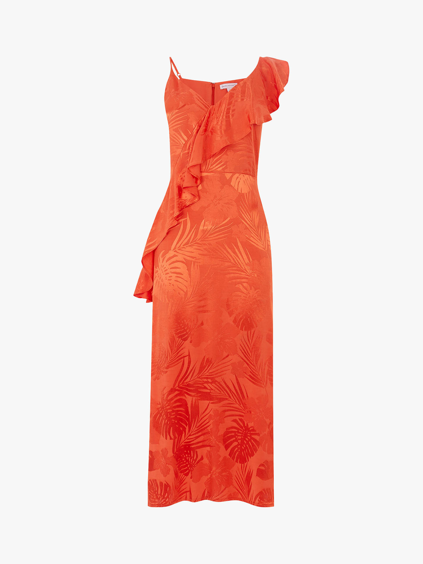 Buy Warehouse Palm Jacquard Midi Cami Dress, Orange, 8 Online at johnlewis.com