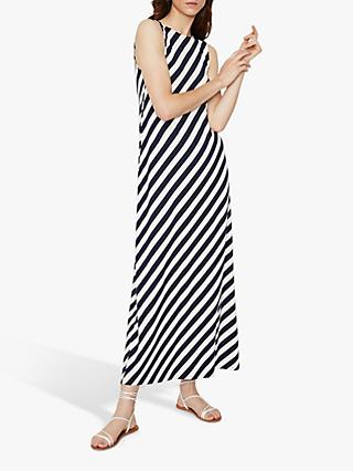 Warehouse Diagonal Stripe Maxi Dress, Blue