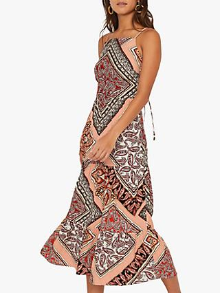 Warehouse Paisley Tiered Midi Cami Dress, Multi