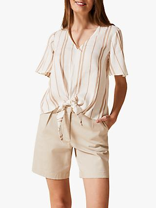 Phase Eight Leanna Stripe Tie Blouse, Stone/Ivory